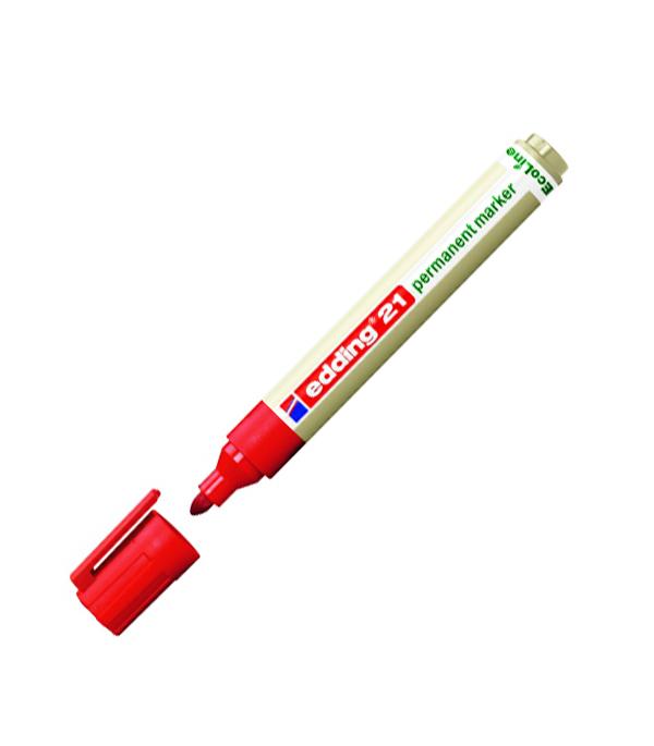 цена на Перманентный маркер Edding EcoLine 21 круглый наконечник красный 15-3 мм