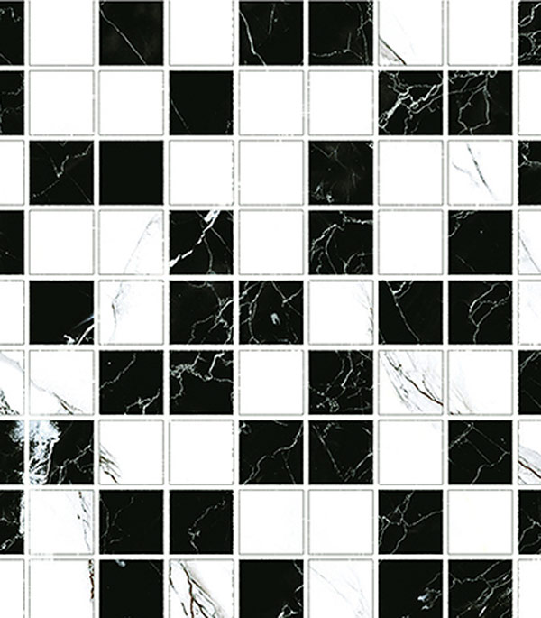 Купить Керамогранит декор 300х300х9 мм мозаика Classic Marble/Грасаро, GRASARO, Черно-белый
