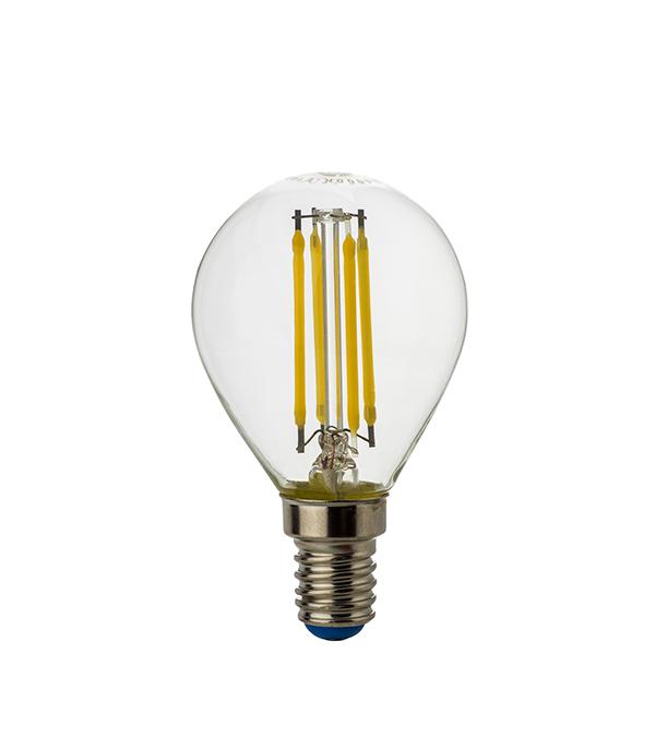 Лампа светодиодная E14 5W G45 филамент шар 2700K теплый свет