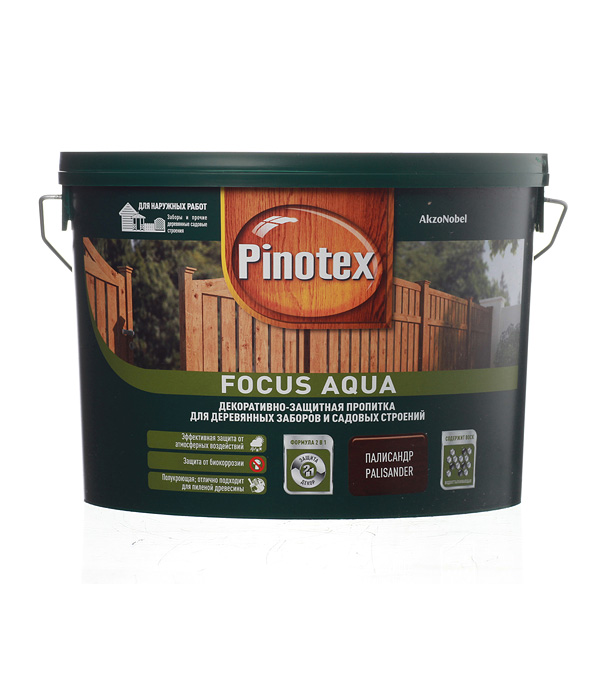 Декоративно-защитная пропитка для древесины Pinotex Focus Aqua палисандр 9 л