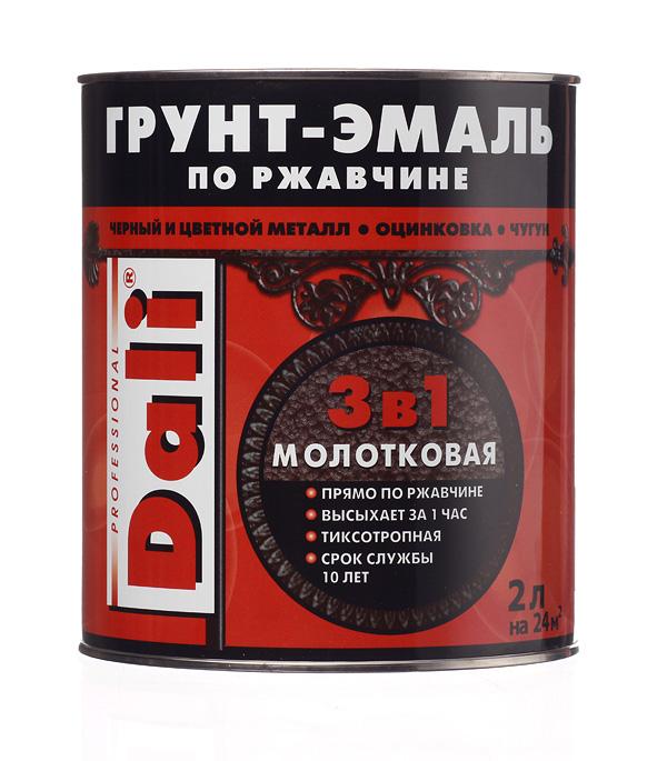 Грунт-эмаль по ржавчине 3 в 1 Dali молотковая черная 2 л