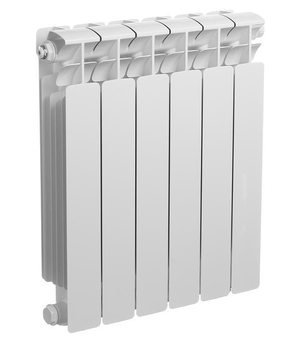 """Радиатор биметаллический 3/4"""" Rifar Base Ventil 500,  6 секций, с правым нижним подключением"""
