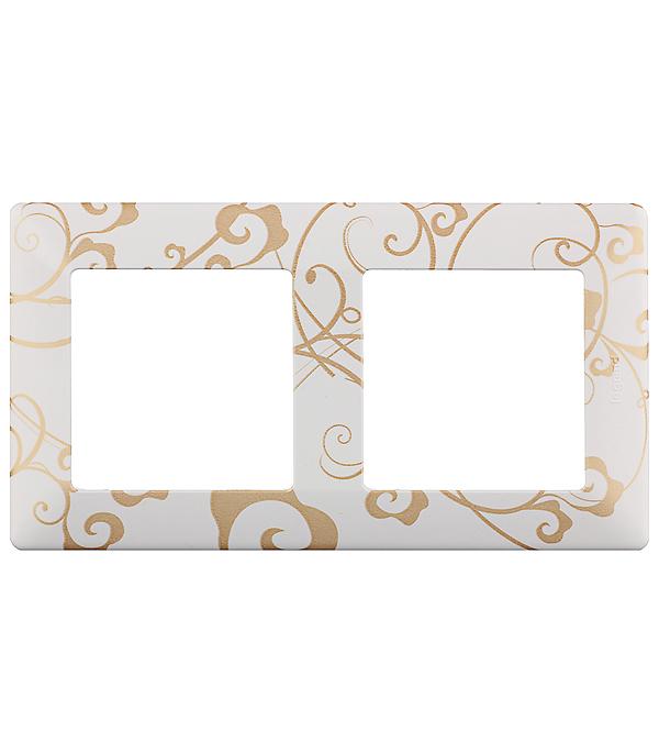 Рамка двухместная универсальная Legrand Valena LIFE ампир белый рамка 4 постовая legrand valena life алюминий 754134