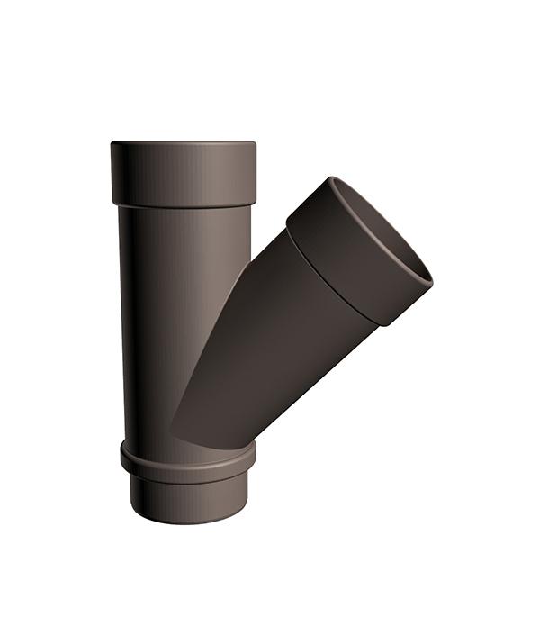 Тройник трубы пластиковый Docke Lux 45° шоколад