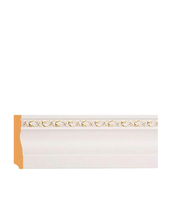 цена на Молдинг с к/к 95х12х2400 мм Decomaster белый с золотом