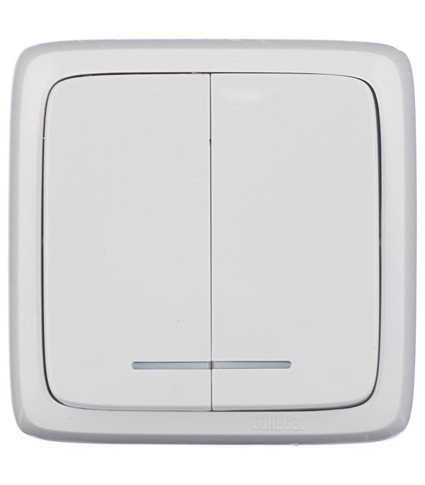 Выключатель двухклавишный HEGEL Alfa о/у с индикацией белый выключатель двухклавишный о у с индикацией hegel slim белый