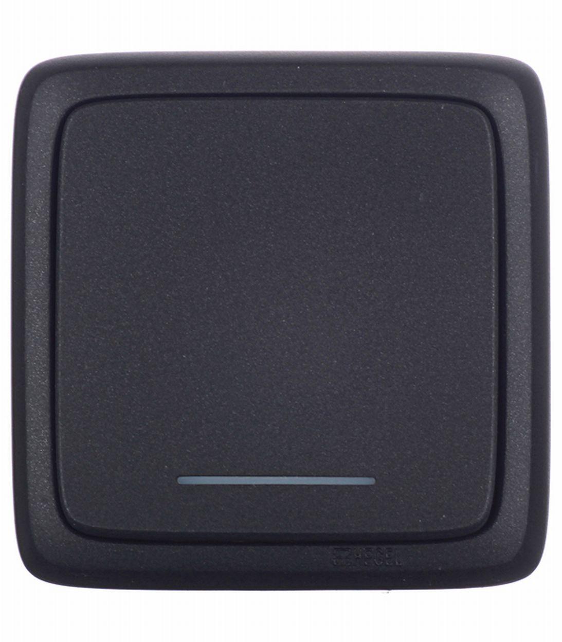 Выключатель одноклавишный о/у с подсветкой с изолирующей пластиной Hegel Alfa черный выключатель одноклавишный legrandquteo о у влагозащищенный ip 44 белый
