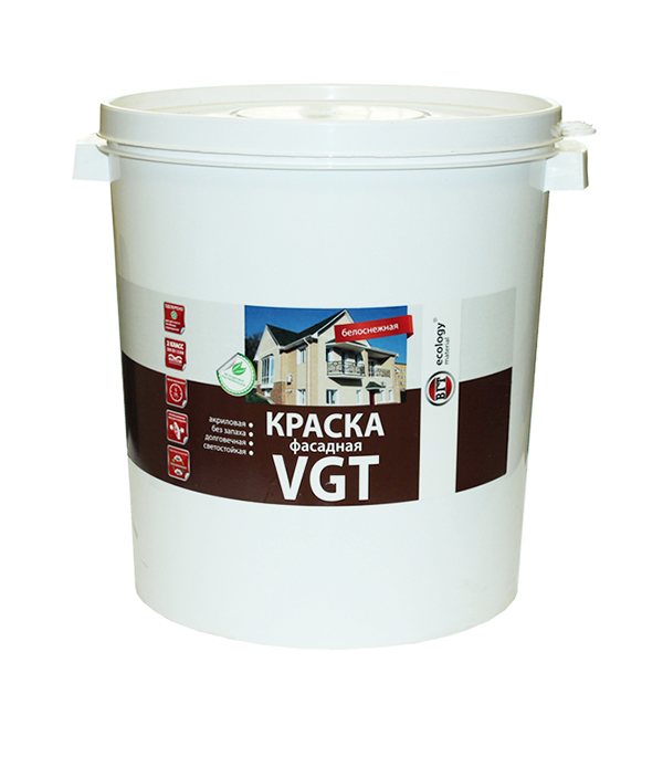 цена на Краска в/д фасадная белоснежная VGT 45 кг