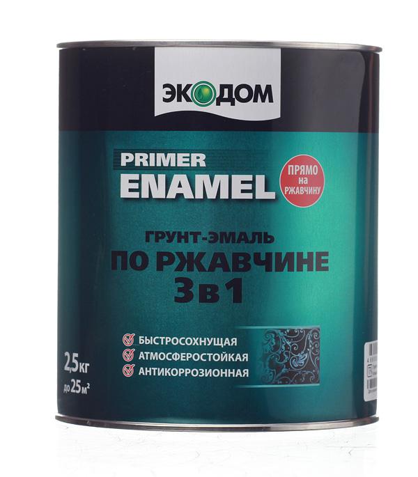 Грунт-эмаль по ржавчине 3 в 1 Экодом белая 2.5 кг грунт эмаль по ржавчине титан алкидно уретановая белая ореол empils 0 9 кг