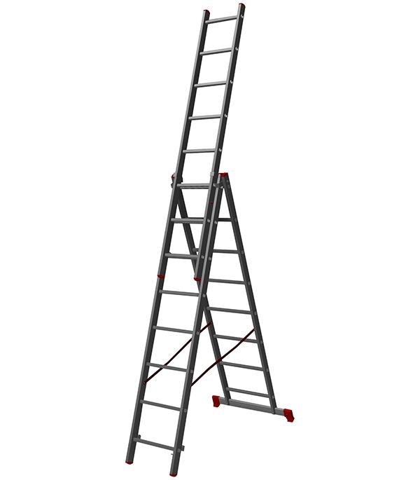 Лестница Новая высота 3-х секционная бытовая 3х 8 лестница алюминиевая приставная krause tribilo 121301