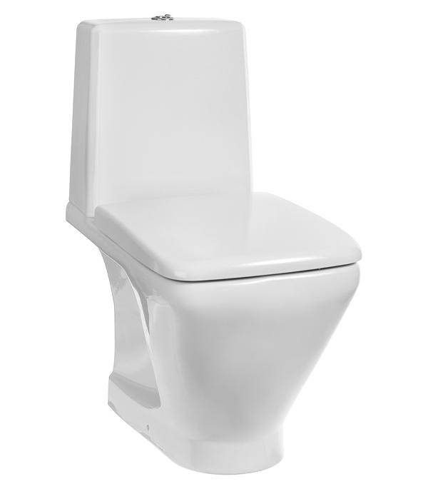 Купить Унитаз-компакт KERAMIN Милан с горизонтальным выпуском безободковый с сиденьем дюропласт микролифт, Белый, Санфарфор