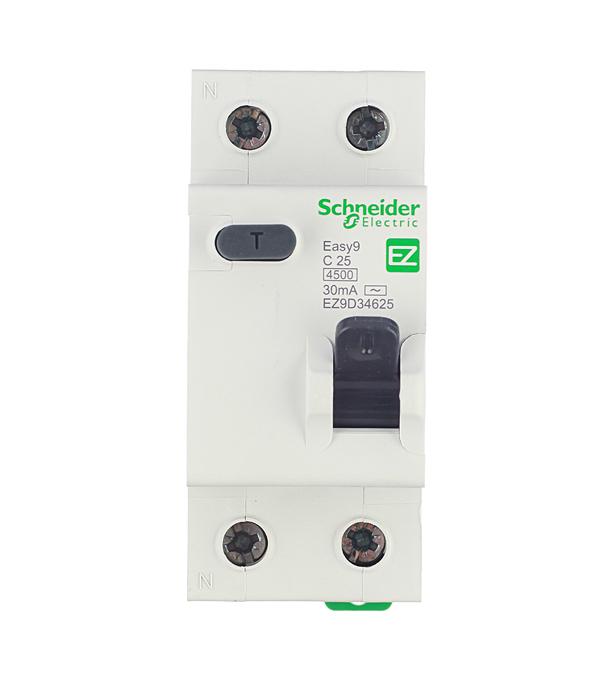 Дифференциальный автомат Schneider Electric Easy9 1P+N 25А тип C 30 мА 4.5 kA SE EZ9D34625 автомат 1p 16а тип с 4 5 ka schneider electric easy9