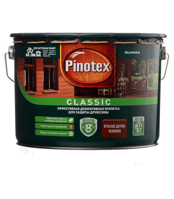 Купить Декоративно-защитная пропитка для древесины Pinotex Classic красное дерево 9 л, Дерево