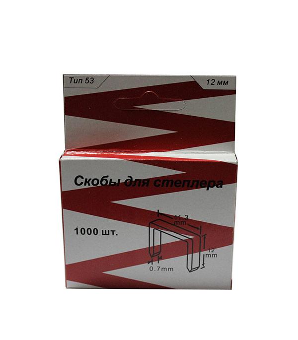Скобы для степлера 12 мм тип 53 (11.3х0.7) П-образные (1000 шт) скобы bosch для строительного степлера тип t53 6 мм 1000 шт