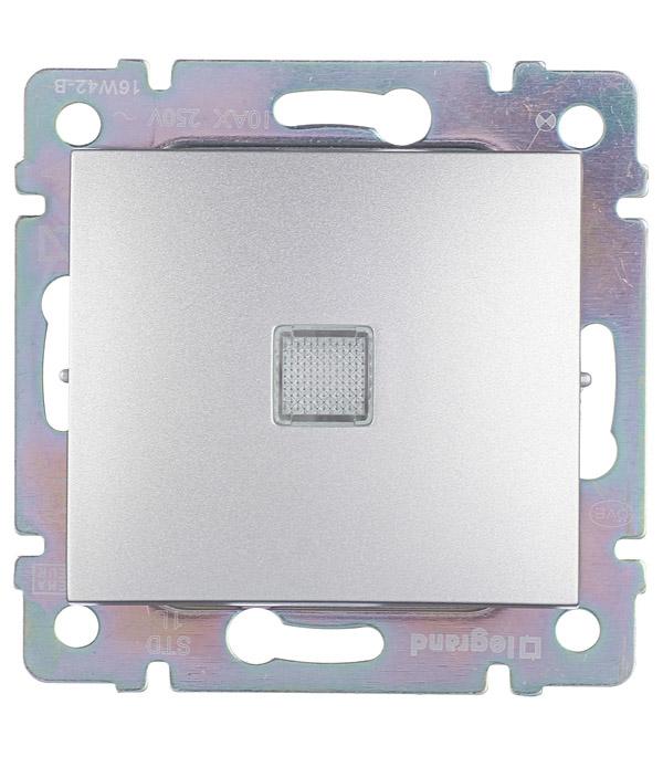 цена Механизм выключателя одноклавишного Legrand Valena с/у с подсветкой алюминий