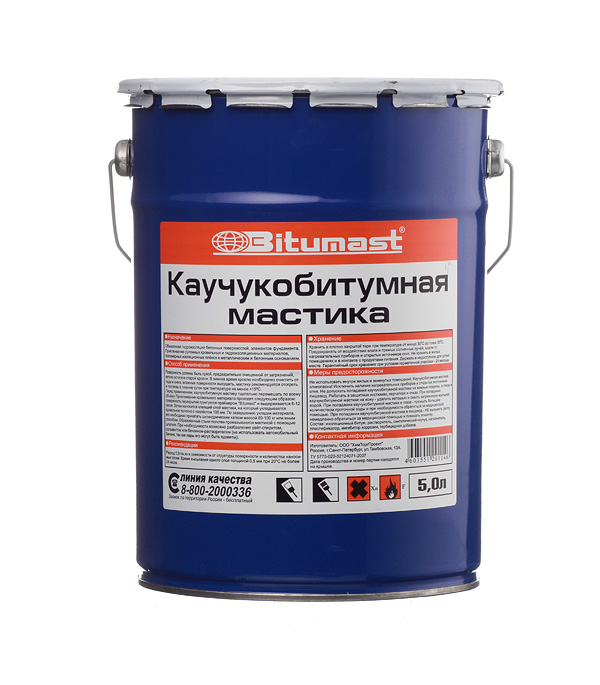 Мастика каучукобитумная Bitumast 4.2 кг/5 л мастика резинобитумная bitumast 18 кг 21 5 л
