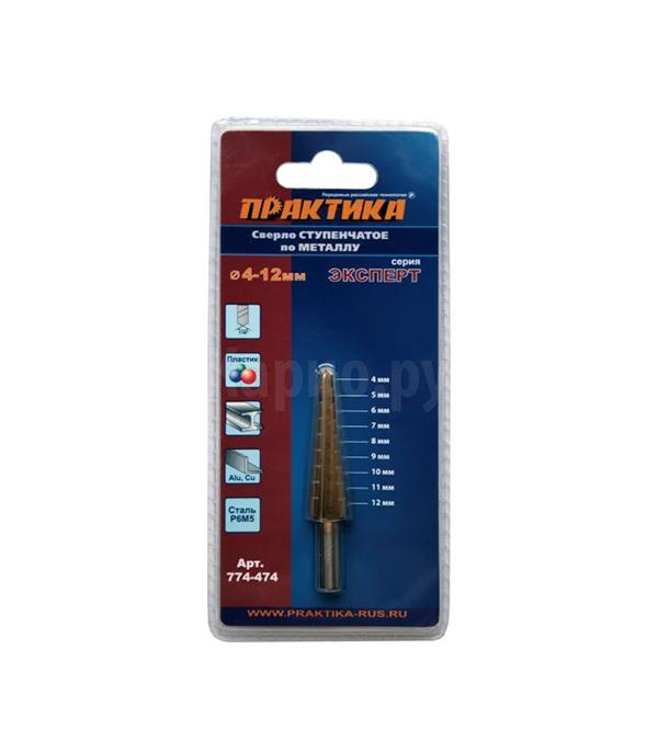 Купить Сверло по металлу ПРАКТИКА Стандарт TIN ступенчатое шаг 1 мм 4-12 мм, Практика