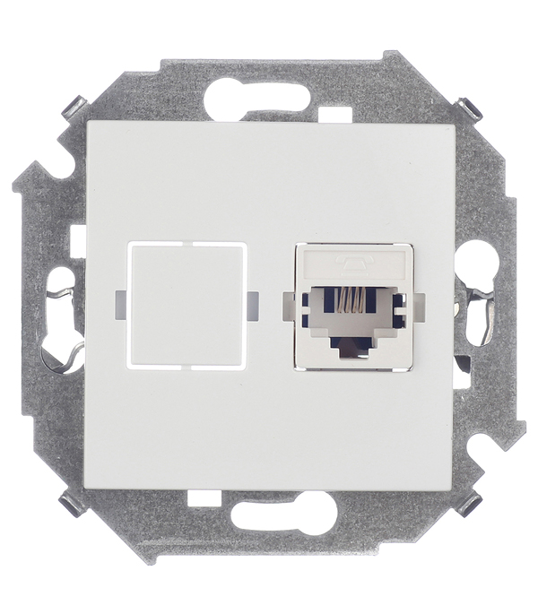 Механизм розетки телефонной RJ11, Simon 15, белый аксессуары для телефонов fk rj11 6p4c adsl splitter filter