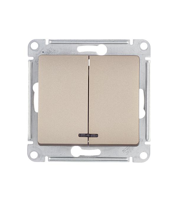 Механизм выключателя двухклавишного с/у с подсветкой Schneider Electric Glossa титан механизм выключателя двухклавишного schneider electric unica с у бежевый