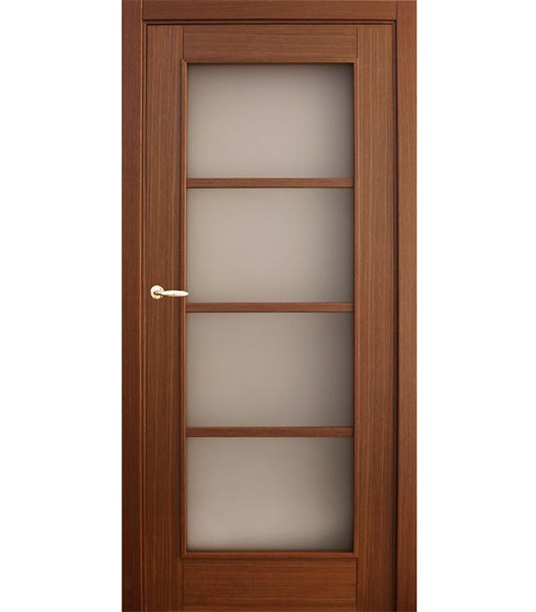 Дверное полотно шпонированное Vario орех 2000х800 мм со стеклом без притвора сотовый