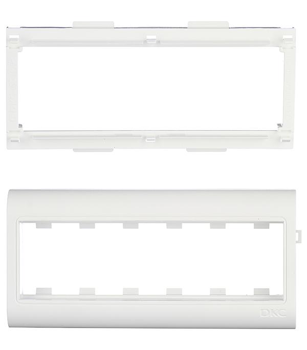 Рамка-суппорт для кабель-канала ДКС под 6 модулей 80х40 мм белая розетка телефонная для кабель канала дкс белая 1 модуль viva