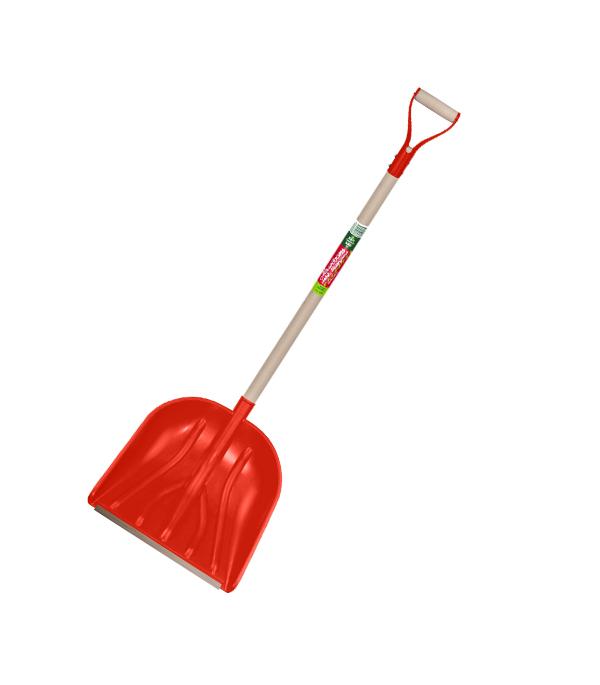 Лопата снеговая красная с деревянным черенком 42 х 40,5 х 130 см лопата снеговая алюминиевая 3 х бортная с черенком 460х350х1400 мм