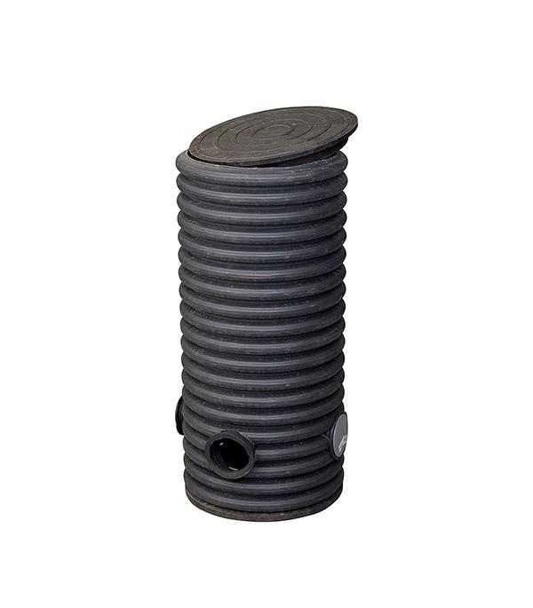 Купить Колодец дренажный смотровой 460/400х1000 мм с тремя отводами 110 мм, дном и крышкой, ПНД