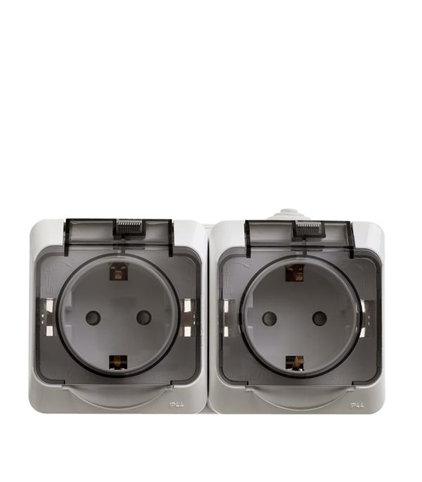 Блок о/у (2-я розетка с з/к со шторками) Schneider Electric Этюд белая выключатель одноклавишный о у ip 44 schneiderelectricэтюдбелый