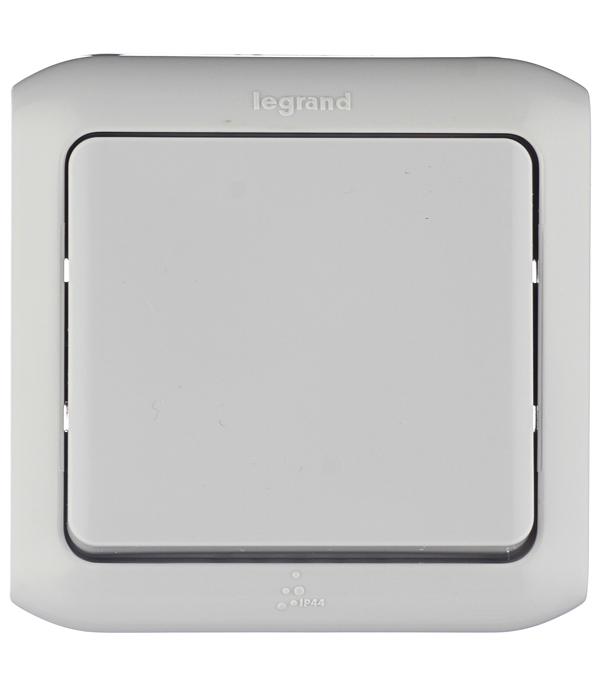 Выключатель одноклавишный Legrand Quteo о/у влагозащищенный IP44 серый выключатель 773609 legrand
