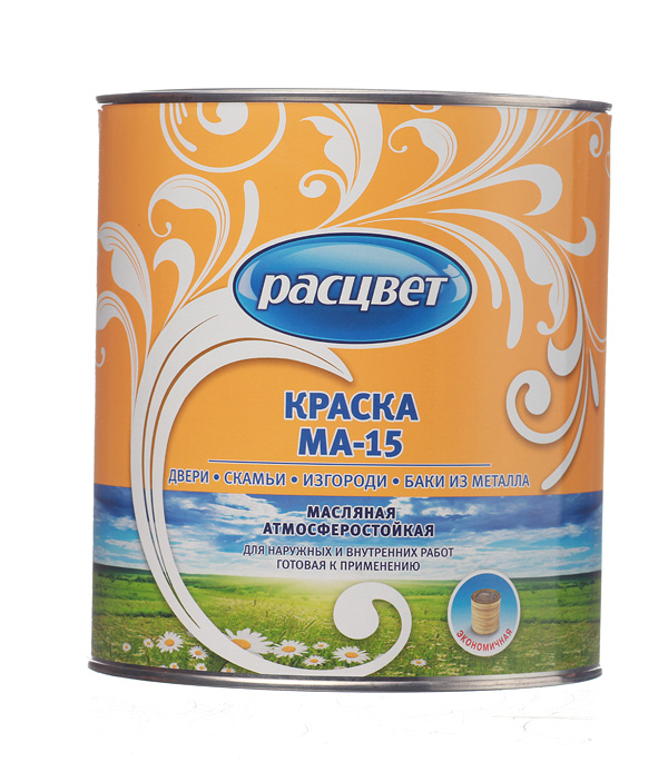 цена на Краска масляная МА-15 зелёная Расцвет Empils 2,7 кг