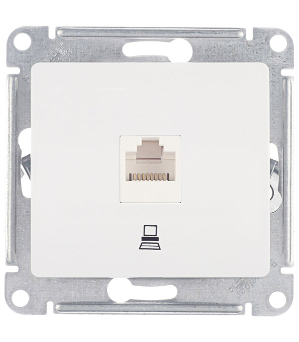 Механизм розетки компьютерной Schneider Electric Glossa с/у белый механизм розетки компьютерной с у schneider electric unica бежевый