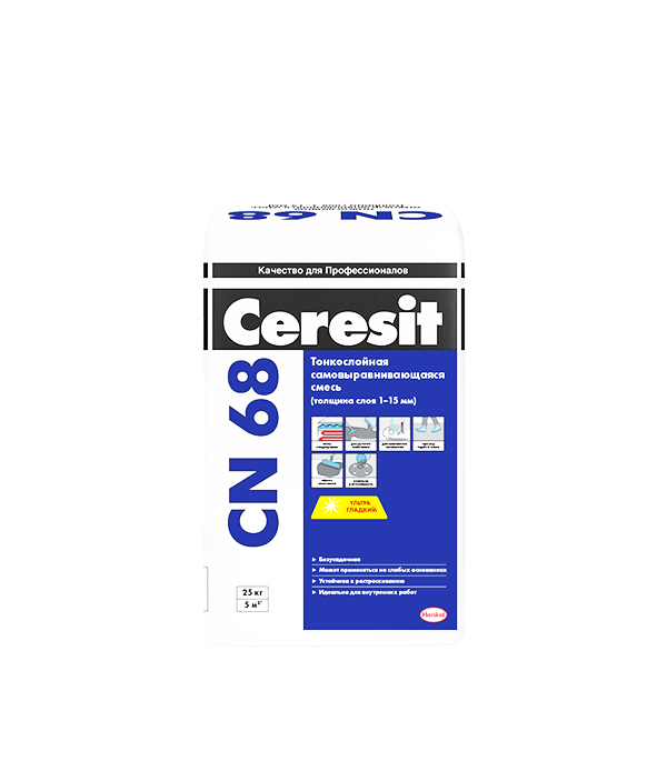 Купить Ровнитель для пола Ceresit CN 68 самовыравнивающийся 25 кг