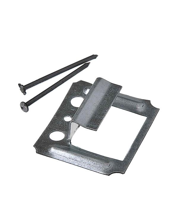 Крепеж кляймер №8 с гвоздями для имитатора бревна (50 шт)