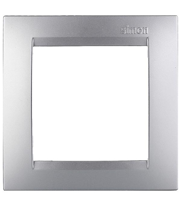 Рамка на 1 пост универсальная алюминий Simon 15 рамка на 5 постов универсальная слоновая кость simon 15
