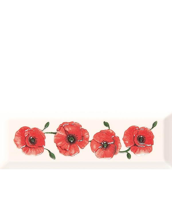 Плитка декор Россо 100х300х8 мм белая