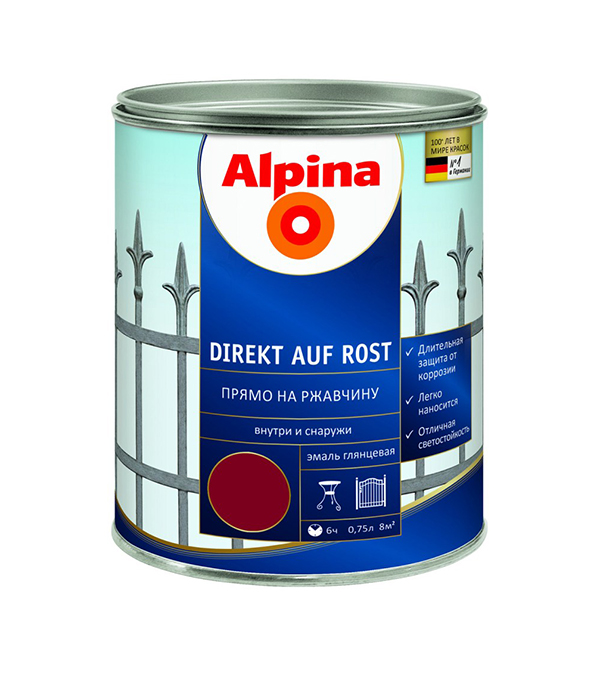 цена на Эмаль по ржавчине Alpina бордовая RAL3005 0.75 л