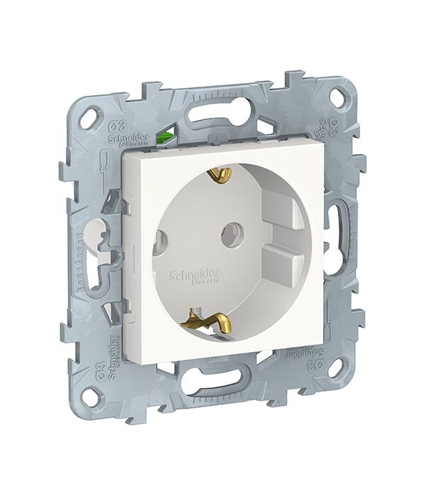 Механизм розетки Schneider Electric UNICA NEW c/у с заземлением без шторок белый механизм переключателя одноклавишного проходного с у schneider electric unica белый