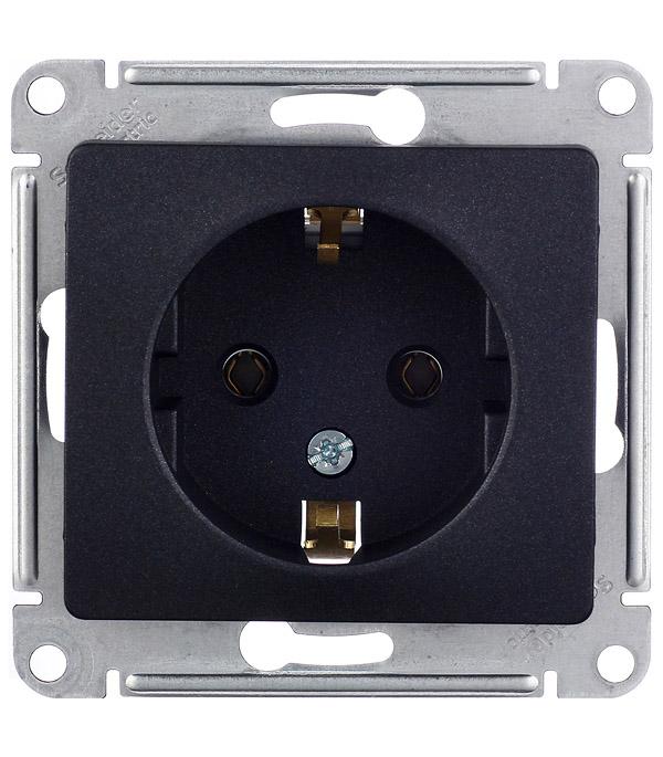 Механизм розетки с/у с заземлением Schneider Electric Glossa антрацит розетка abb bjb basic 55 шато 2 разъема с заземлением моноблок цвет чёрный