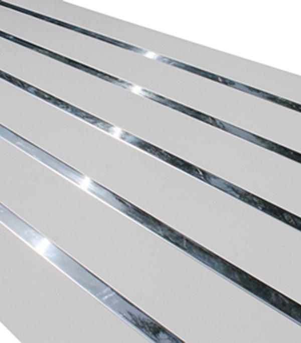 Реечный потолок для ванной комнаты 1.7х1.7 м комплект белый жемчуг вставка хром