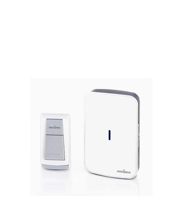 Звонок Мелодика Б501 беспроводной с влагозащищенной кнопкой на батарейках 20 мелодий белый/черный звонок электрический с кнопкой светозар нота 58037