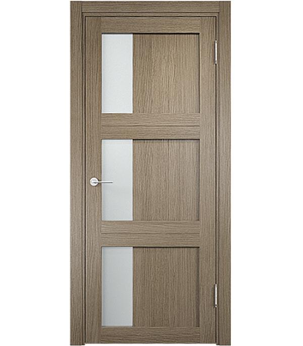 Дверное полотно экошпон Баден 06 800x2000 дуб дымчатый со стеклом без притвора