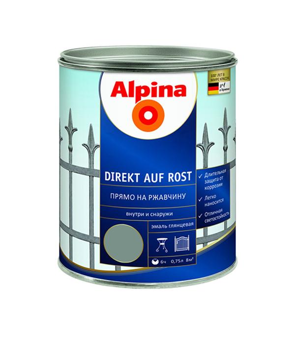 цена на Эмаль по ржавчине Alpina серая RAL7040 0.75 л