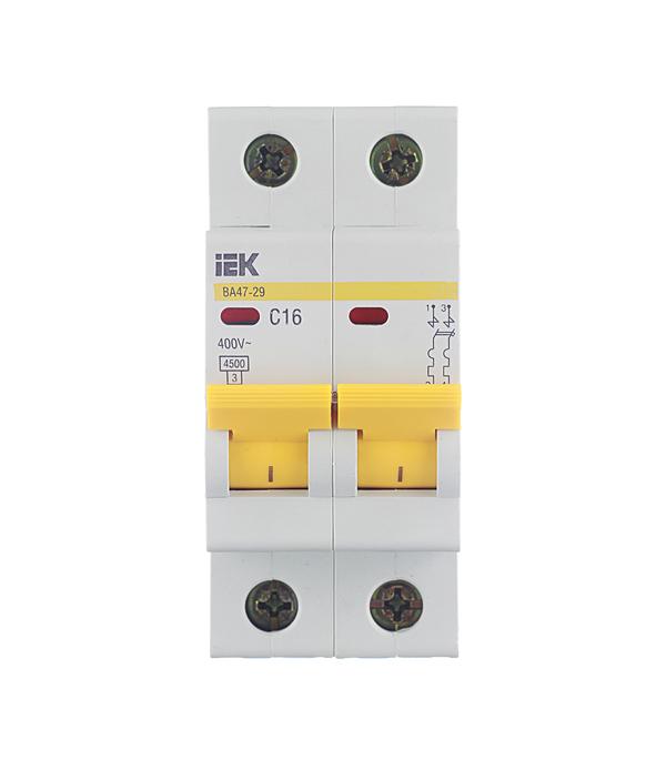 Автомат 2P 16А тип С 4.5 kA IEK ВА 47-29 автомат 1p 63а тип с 4 5 ka iek ва 47 29