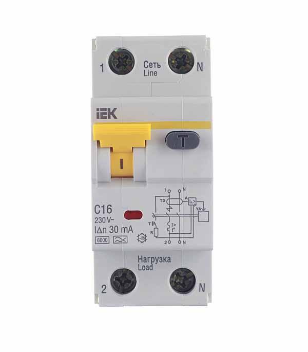 Дифференциальный автомат 1P+N 16А тип C 30 мА 6 kA IEK АВДТ 32 автомат дифференциальный 1p n 20а тип c 30ма 6ka иэк авдт 32