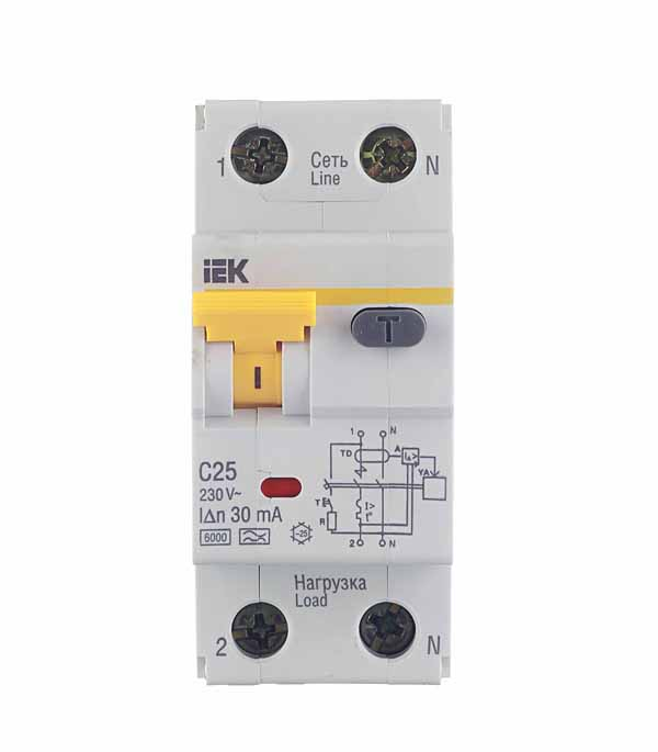 Дифференциальный автомат 1P+N 25А тип C 30 мА 6 kA IEK АВДТ 32 дифференциальный автомат tdm electric авдт 63м c10 10ma sq0202 0065