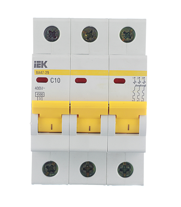 Автомат 3P 10А тип С 4.5 kA IEK ВА 47-29 автомат 1p 63а тип с 4 5 ka iek ва 47 29