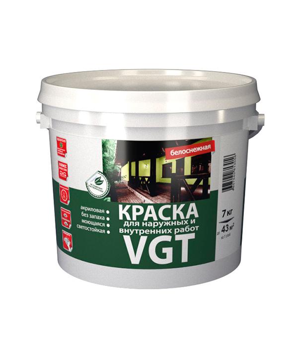 Краска в/д VGT моющаяся белоснежная матовая 7 кг краска в д интерьерная моющаяся основа а матовая vgt 4 л 6 кг