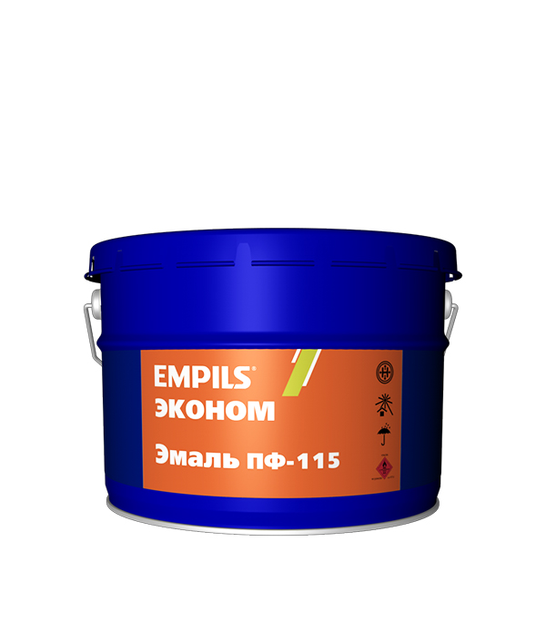 Эмаль ПФ-115 черная эконом Empils 20 кг эмаль пф 115 синяя универсал расцвет empils 0 9 кг