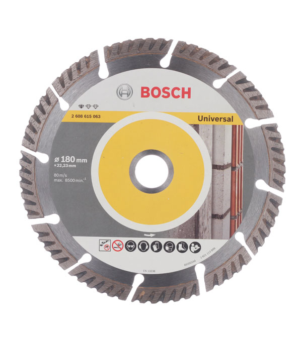 Диск алмазный сегментный универсальный Bosch Профи 180х22,2 мм диск шлифовальный с липучкой р40 d 125 мм 5 шт перфорированный bosch профи