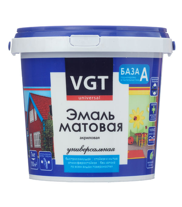 Эмаль акриловая матовая супербелая основа А VGT 1,5 кг